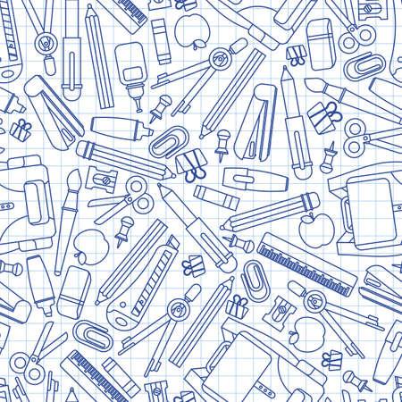 Back to school pattern seamless notebook sheet. Study supplies background. School texture Vektorové ilustrace