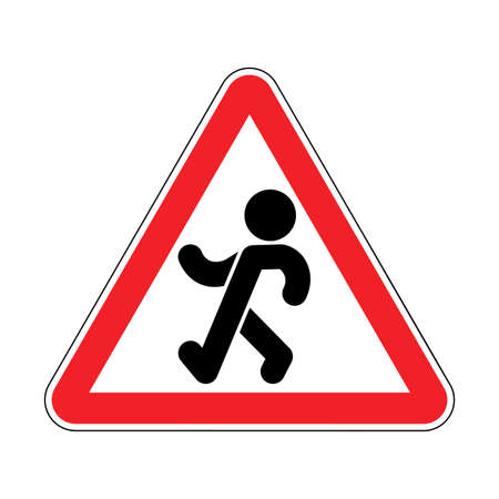 Attention Stroll. Warning red road sign. Caution Promenade and Saunter Vectores