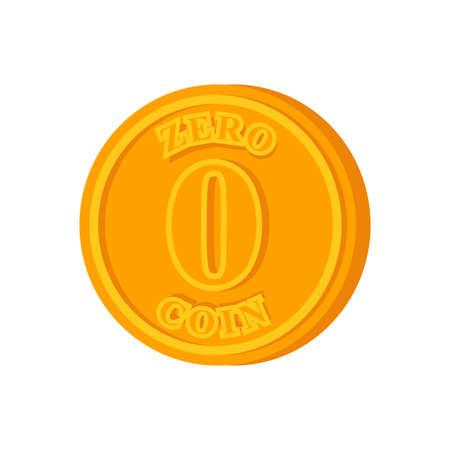 Zero coin. Nothing Alternative Coin. Monetary system concept Vektorgrafik
