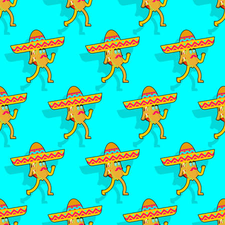 Cartoon taco in sombrero pattern seamless. Mexican fast food in hat background. tacos texture