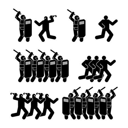 Riot police and protesters icon set. Sign Street protests. Preventing overthrow of state power. Demonstration, protesting symbol