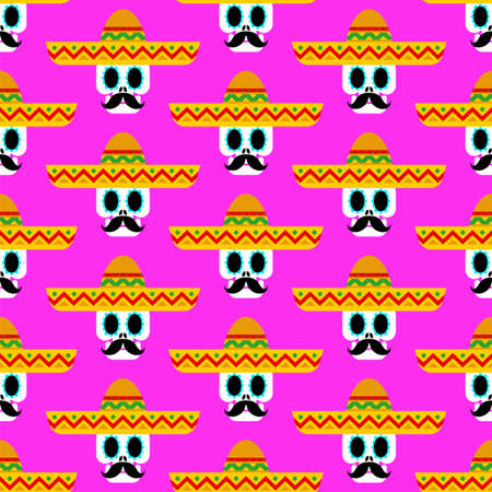 Skull in sombrero pattern seamless. day of dead in mexico background. Dia de los Muertos Mexican holiday texture
