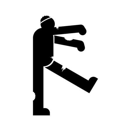 Zombie sign icon isolated. Dead man monster walks symbol Ilustración de vector