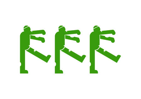 Zombie sign icon isolated. Dead man monster walks symbol