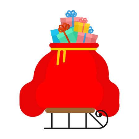 Santa bag on sleigh. Christmas red sack with gift