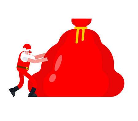 Santa pulls bag of gifts. Christmas vector illustration
