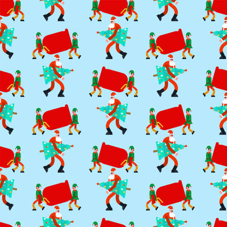 Santa pattern seamless. Red Christmas bag background