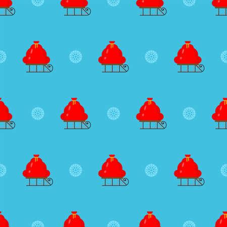 Santa bag pattern seamless. Red Christmas sack background Illusztráció
