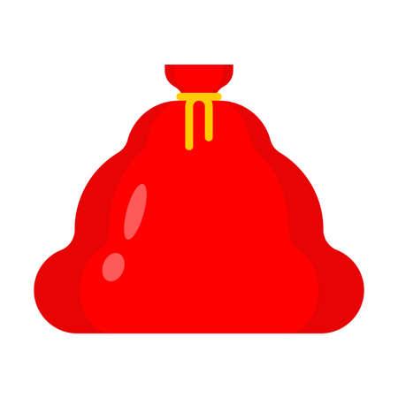 Big red Santa bag isolated. Christmas sack with gift
