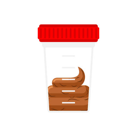 Stool analysis. Plastic jar for analysis. Feces and urine collection container
