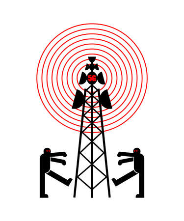 5G tower chipping population. Conspiracy theory. Zombies walk around cell tower. TV and radio communication towers Vecteurs