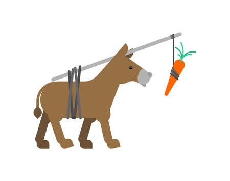 Donkey and carrot isolated. Goal achievement concept