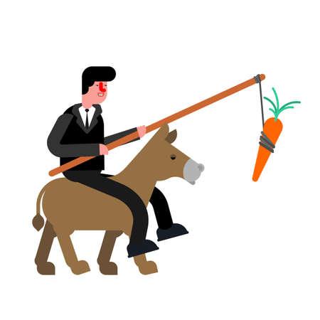 Businessman rides donkey and carrot. driving donkey. Goal achievement concept Vektorové ilustrace