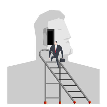 Ladder to head. Self-knowledge concept. Open in my head