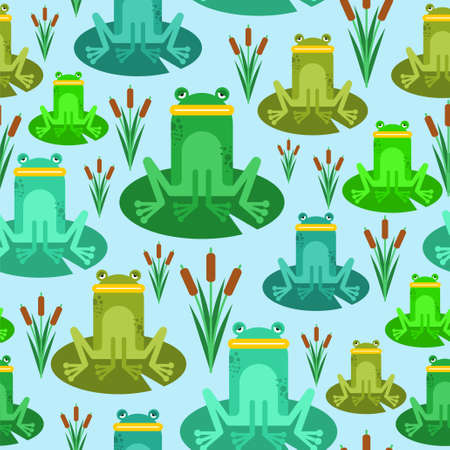 Frog cartoon pattern seamless. frog sitting on lily background. Swamp with frogs texture