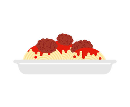 Pasta with meatballs isolated. Food vector illustration 向量圖像