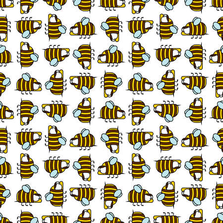 Bee pattern seamless. bees and hives background vector. Baby fabric ornament 向量圖像