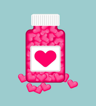 Love pills bottle and capsule isolated. vector illustration