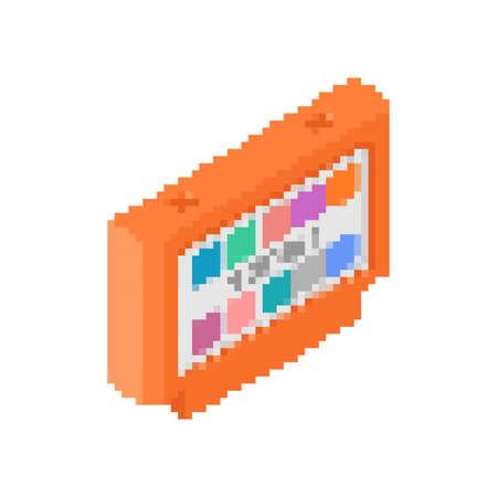 video game cartridge pixel art. Retro TV game 8bit.