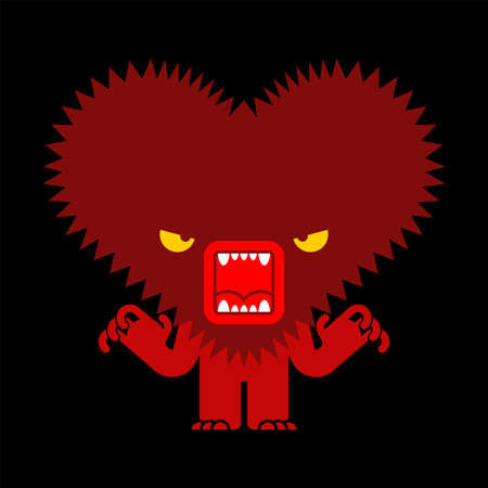 Angry love isolated. furious heart. vector illustration