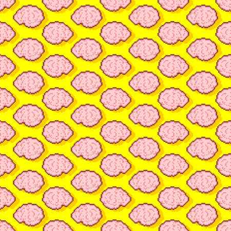 Brain pixel art pattern seamless 8 bit. Brains pixelated background. vector texture