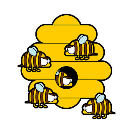 Bees and beehive cartoon isolated. Cute honeybee vector illustration 向量圖像
