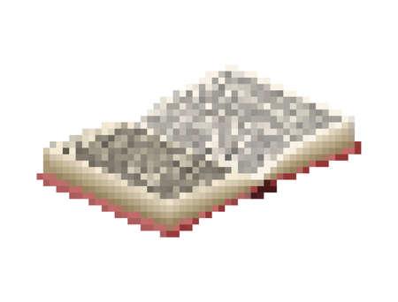 Open book pixel art 8 bit. vector illustration