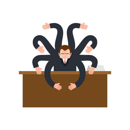 Businessman octopus. Man with eight arms. vector illustration 向量圖像