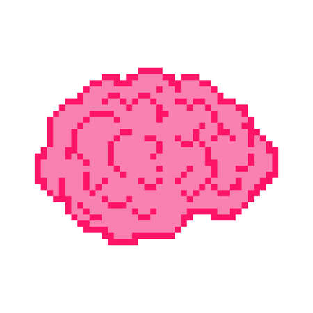 Brain pixel art 8 bit. Brains pixelated. vector illustration 向量圖像