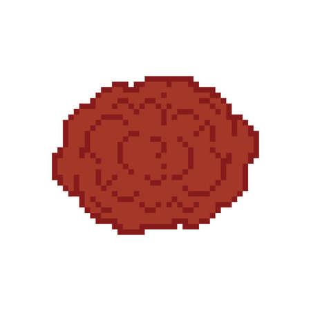 Meatball pixel art. meatballs 8 bit. pixelated food 向量圖像