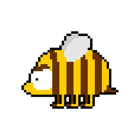 Bee pixel art 8 bit. pixelated honeybee 8bit vector illustration
