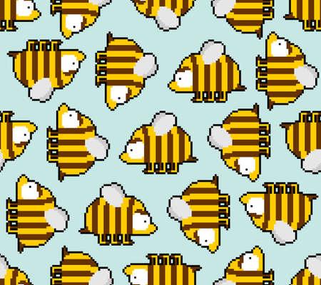 Bee pixel art 8 bit pattern seamless. pixelated honeybee 8bit vector background