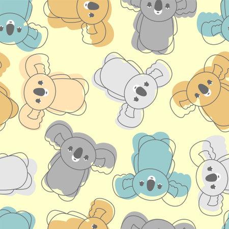 Koala cartoon pattern seamless. Australian marsupial bears background. vector texture Vector Illustration