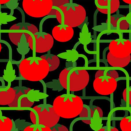 Tomato bush pattern seamless. Tomatos background. vector texture