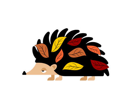 Hedgehog with leaves isolated. small animal with needles on its body. Vector Illustration