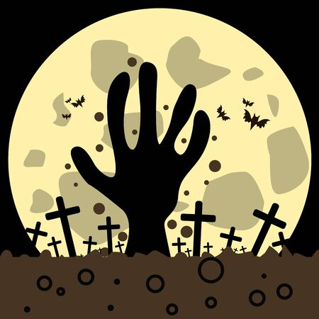 Halloween vector image with the image of a zombie hand that crawls out of the grave. Against the background of a cemetery with crosses, the moon, grounding, bats, night.