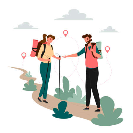 Tourists people group man woman couple hiking. Woman on hiking trip a man gives a hand to a woman. Woman walking along the path with hiking sticks in her hands. Travelers hiking adventure, orienteering outdoor vector