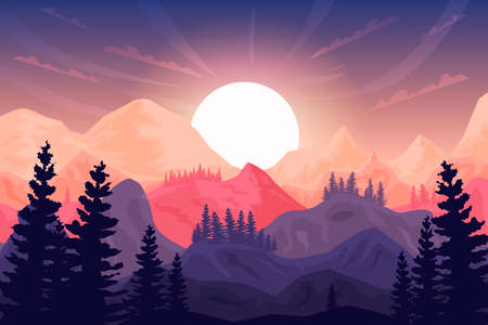 Sunset in the mountains, beautiful landscape, big sun, forest silhouette. Can be used as background and wallpaper.