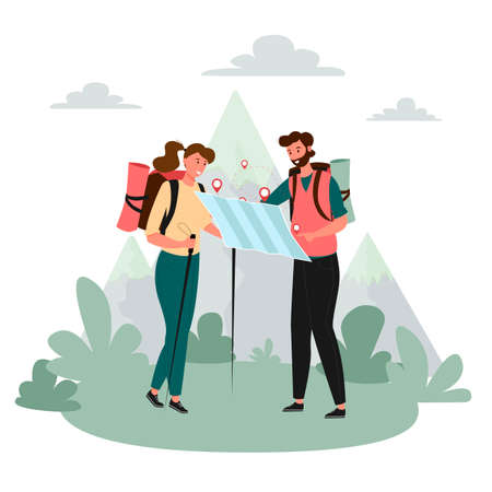 Tourists people group man woman couple hiking. A guy and a girl are looking at a map of the area. Woman walking along the path with hiking sticks in her hands. Travelers hiking adventure, orienteering outdoor vector