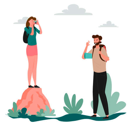 A woman stands on a large rock and photographs a man. Forest road, hiking, hike, tourism. Local tourism. Travelers hiking adventure, orienteering outdoor vector