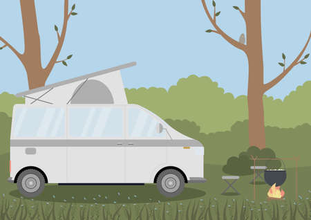 Caravan in a forest. Local camping summer vacation. Concept vector illustration.