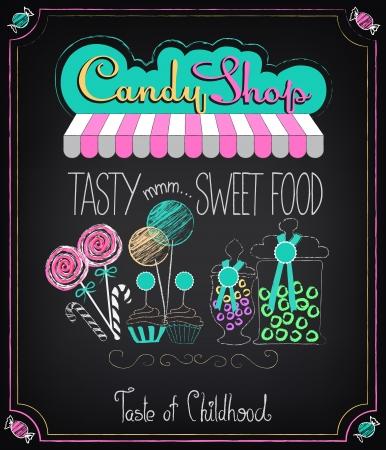 vintage cafe: Illustrazione di un elemento grafico epoca alla lavagna. Candy Shop
