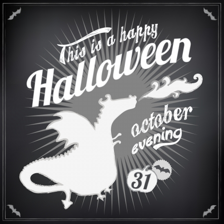 Halloween background in calligraphic designs. Retro style and  typographic elements. EPS 10  Vector