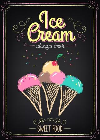 ice cream: Minh họa của một yếu tố đồ họa cổ điển cho menu trên bảng Hình minh hoạ