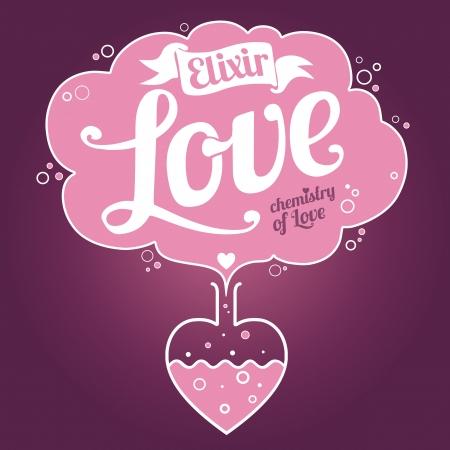 pocion: Elixir de amor de fondo. Tarjeta del día de San Valentín