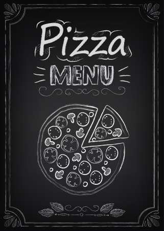 pizzas: Pizza. Illustration of a vintage graphic element for menu on the chalkboard