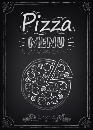 Pizza. Ilustración de un elemento gráfico del vintage para el menú en la pizarra
