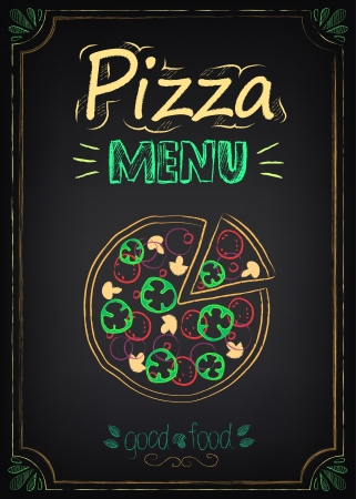 Pizza. Illustration of a vintage graphic element for menu on the chalkboard