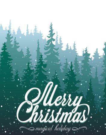 coniferous forest: Tarjeta de Navidad con los bosques de con�feras