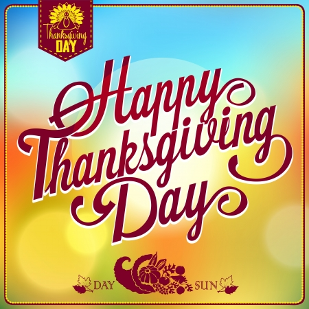 Retro elements for Thanksgiving day calligraphic designs. Vintage typographical postcard. EPS 10